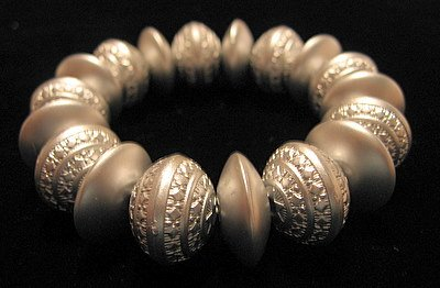 Silver Painted Bicone Wood Carved Bead Stretch Bracelet