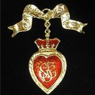 Heart & Crown Red Enamel GoldTone Bow Dangle Pin/Brooch