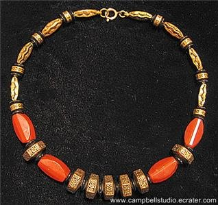 Oriental Coral Acrylic Antique Gold DiskBead Necklace NM