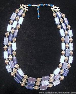Blue Shiny Glass & Silver Tone Bicone Bead Necklace NM