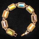 Cat's Eye Multi-Color Antique Brass Style Metal Bracelet Signed