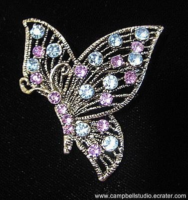 Butterly Blue/Lavendar Crystal Pin/Brooch Antique SilverTone