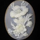 Floral Cameo Pin/Brooch Carved White/Grey GoldTone Near Mint