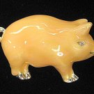 Pig Pin/Brooch Flesh Colored Enamel Silver & Crystal Mint