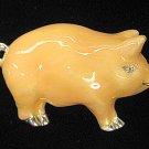 Pig Pin/Brooch Flesh Colored Enamel Silver & Crystal Mint