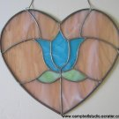 Leaded Stained Glass Heart & Tulip Window Decoration Gently Used