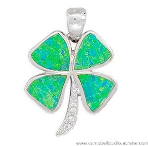 St Patrick Clover Pendant Synthetic Opal 925 Silver NEW