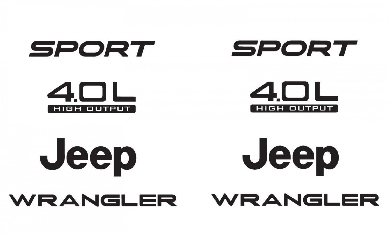 Jeep Sport 03-06 Vinyl Refresh Kit TJ 4.0L Stickers Emblem