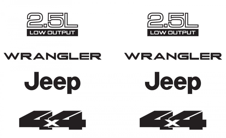 Jeep Wrangler 2.5L 2.5 L 4x4 Refresh Vinyl Decal Set