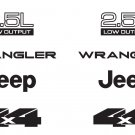 Jeep Wrangler 2.5L 2.5 L 4x4 Refresh Vinyl Decal Set