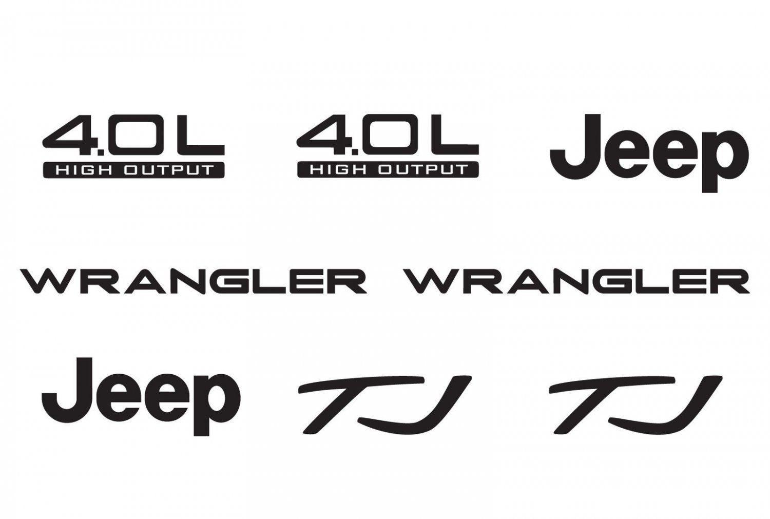 Jeep Wrangler Tj 4.0L 4.0 L Refresh Vinyl Decal Set