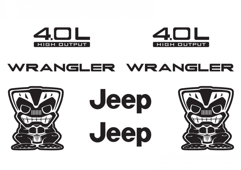 Jeep Wrangler Tiki Bob Refresh Kit Vinyl Sticker Decal 4x4 TJ YJ JK Islander