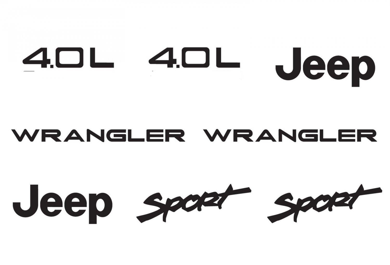 Jeep Wrangler Sport Vinyl Stickers Decals kit set of YJ TJ 4.0L 4.0 L - White