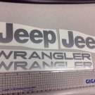 Set of Jeep Wrangler Replacement Vinyl Stickers Decals YJ TJ silver Set