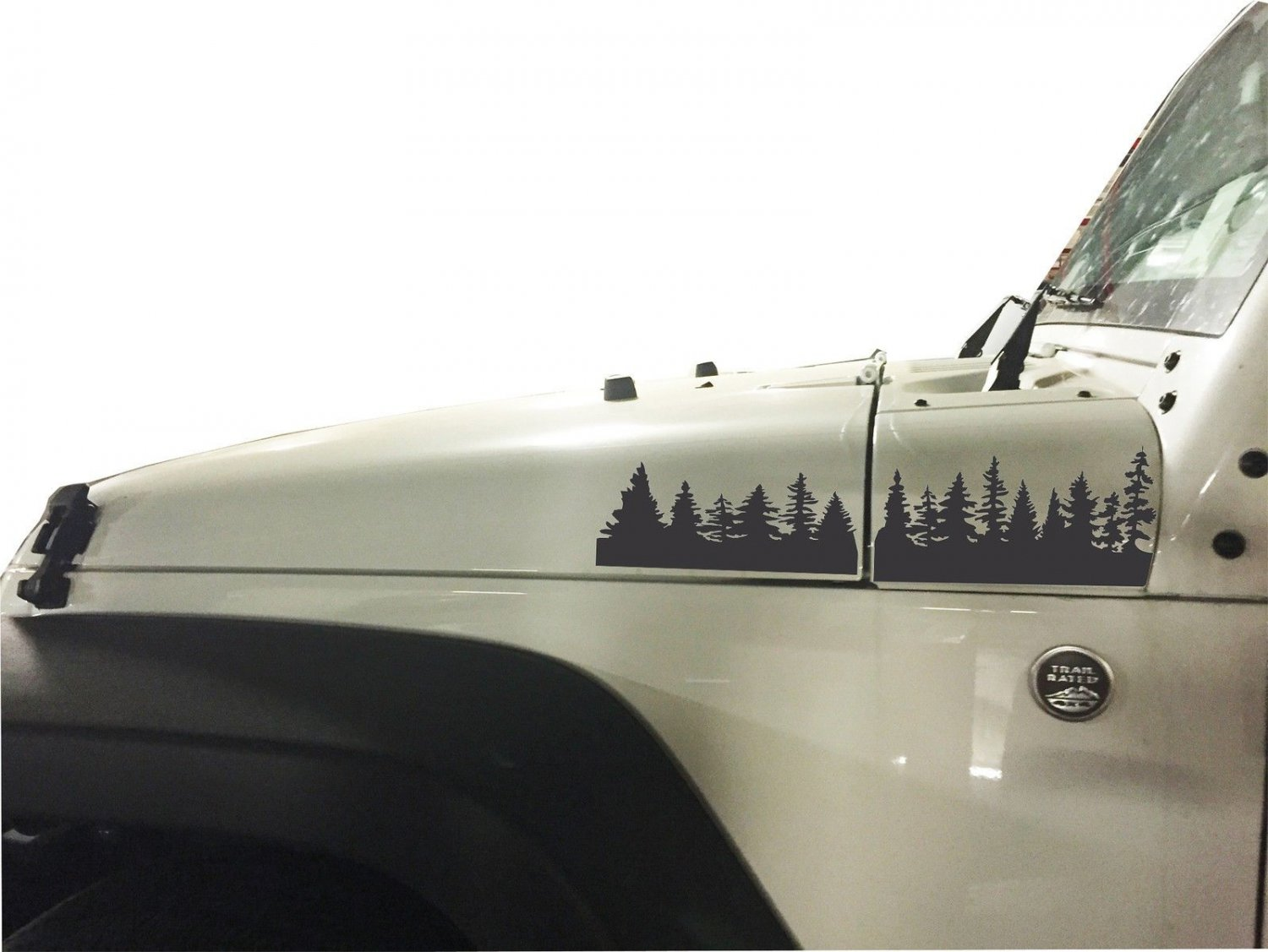 2 of Jeep JK Pine Tree extended Hood Decals Stickers Black color.