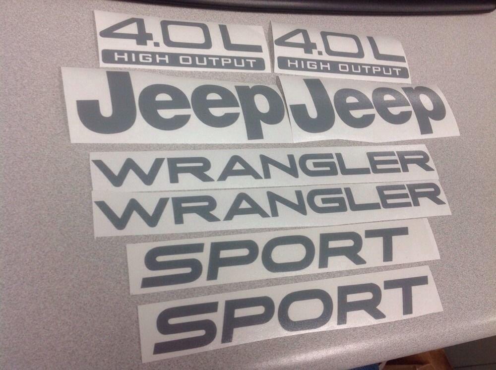 Set of Jeep Wrangler Sport Refresh Vinyl Stickers Decals YJ TJ 4.0L 4.0 L Gray