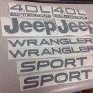 Set of Jeep Wrangler Sport Refresh Vinyl Stickers Decals YJ TJ 4.0L 4.0 L silver