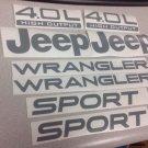 Set of Jeep Wrangler Sport Refresh Vinyl Stickers Decals YJ TJ 4.0L 4.0 L silver