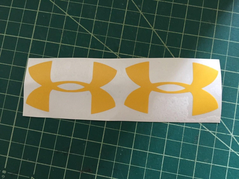 "Under Armour Decal yellow Sticker Vinyl 3 Of 3"" Windows Surfboard Car Laptop"