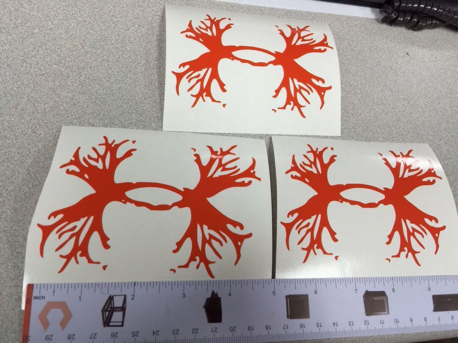 """Lot Of 3 Under Armour/Armor Antlers vinyl decal/sticker 5"""" H orange Hunting Logo"""