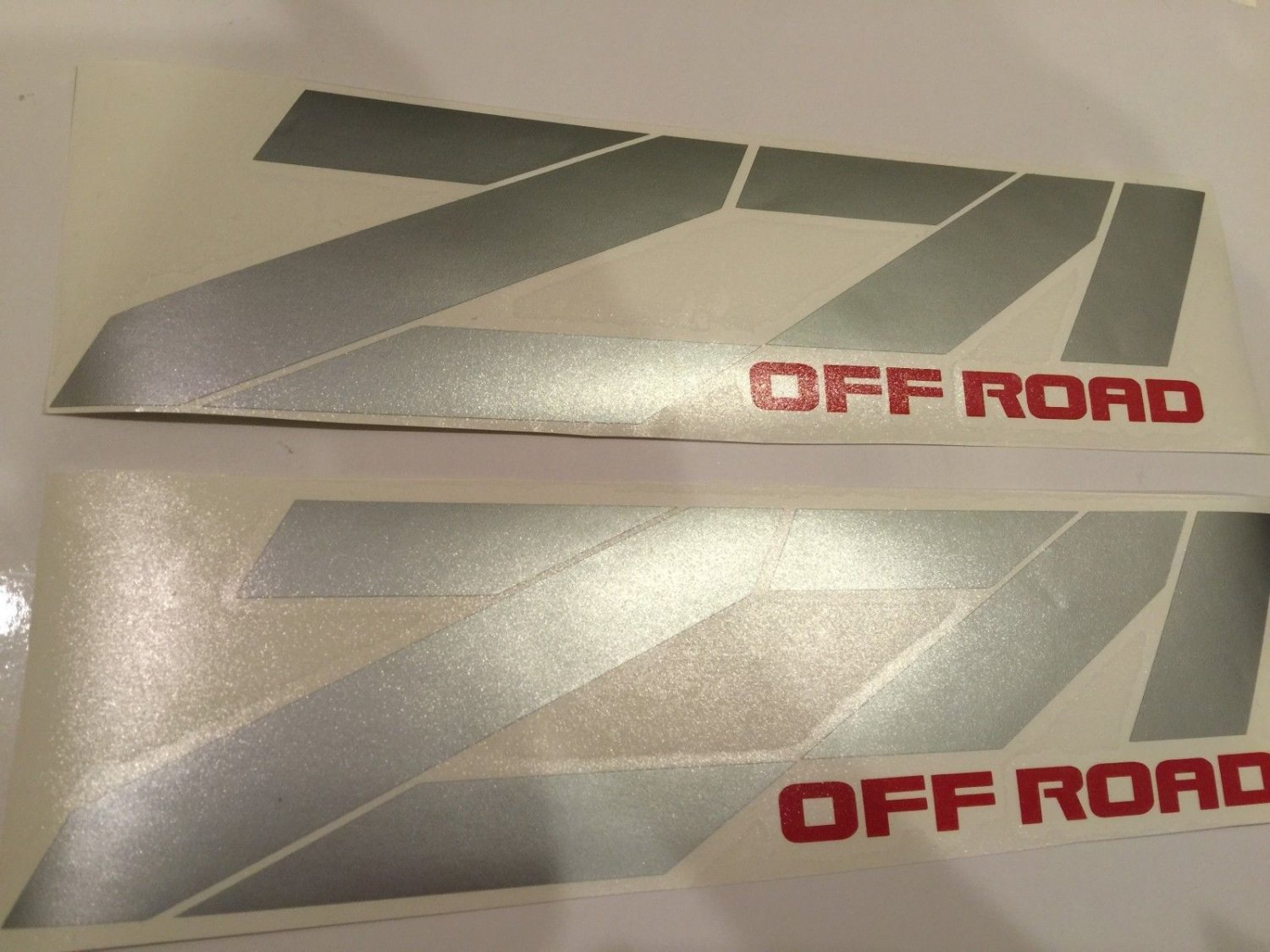 Pair Of Z71 Off Road Decal silver With Red Off Road Sticker Truck