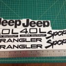 Jeep Wrangler Sport Vinyl Stickers Decals kit set of YJ TJ 4.0L 4.0 L