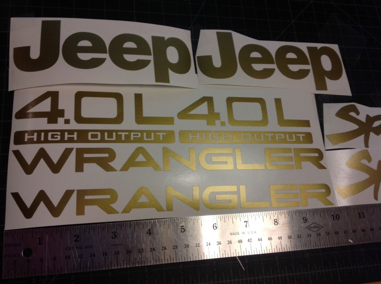Jeep Wrangler Sport Vinyl Stickers Decals kit set of YJ TJ 4.0L 4.0 L gold
