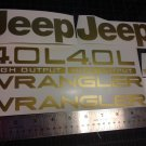 Jeep Wrangler Sport Vinyl Stickers Decals kit set of YJ TJ 4.0L 4.0 L gold