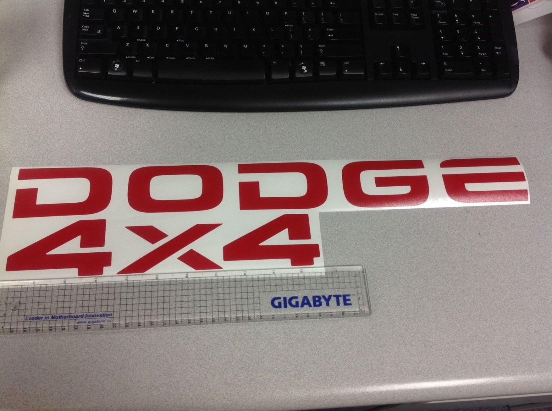 Dodge Dakota Tailgate decal stickers DODGE & 4X4 RAM DAKOTA SPORTS red