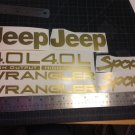 Set of Jeep Wrangler Sport Refresh Vinyl Stickers Decals YJ TJ 4.0L 4.0 L Gold