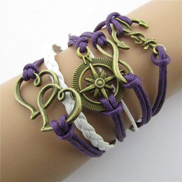 Europen Retro Anchor Heart Compass Handmade Infinity Bracelet