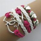 Europen Retro Heart Handmade Infinity Bracelet