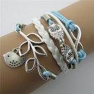 Europen Retro Owl Leaf Handmade Infinity Bracelet