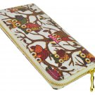 Designer Inspired Owl Print Zip Around Clutch Purse in White UK Stock