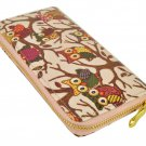 Designer Inspired Owl Print Zip Around Clutch Purse in Light Beige UK Stock