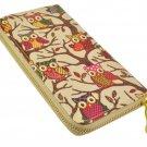 Designer Inspired Owl Print Zip Around Clutch Purse in Beige UK Stock
