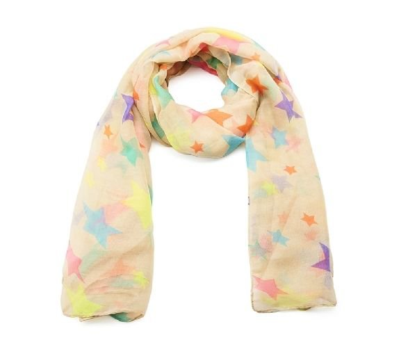 Fun Multicoloured Bright Neon Star Printed Summer Fashion Scarf