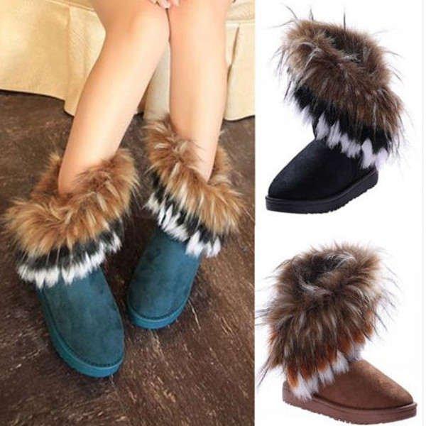 Artificial Fox Rabbit Fur Winter Snow Ankle Boots Women Tassel Shoes