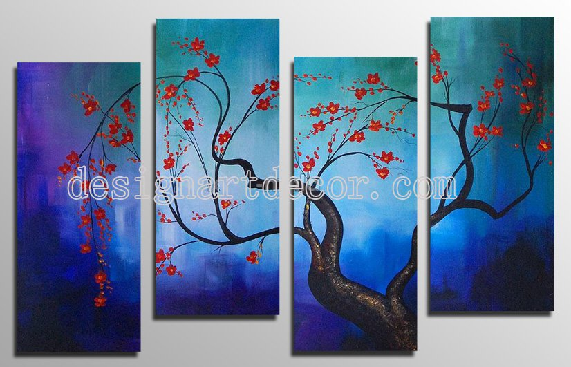 Framed Modern Abstract Oil Paintings On Canvas Flowers Wall Art 100% Hand Painted Artworks OP811