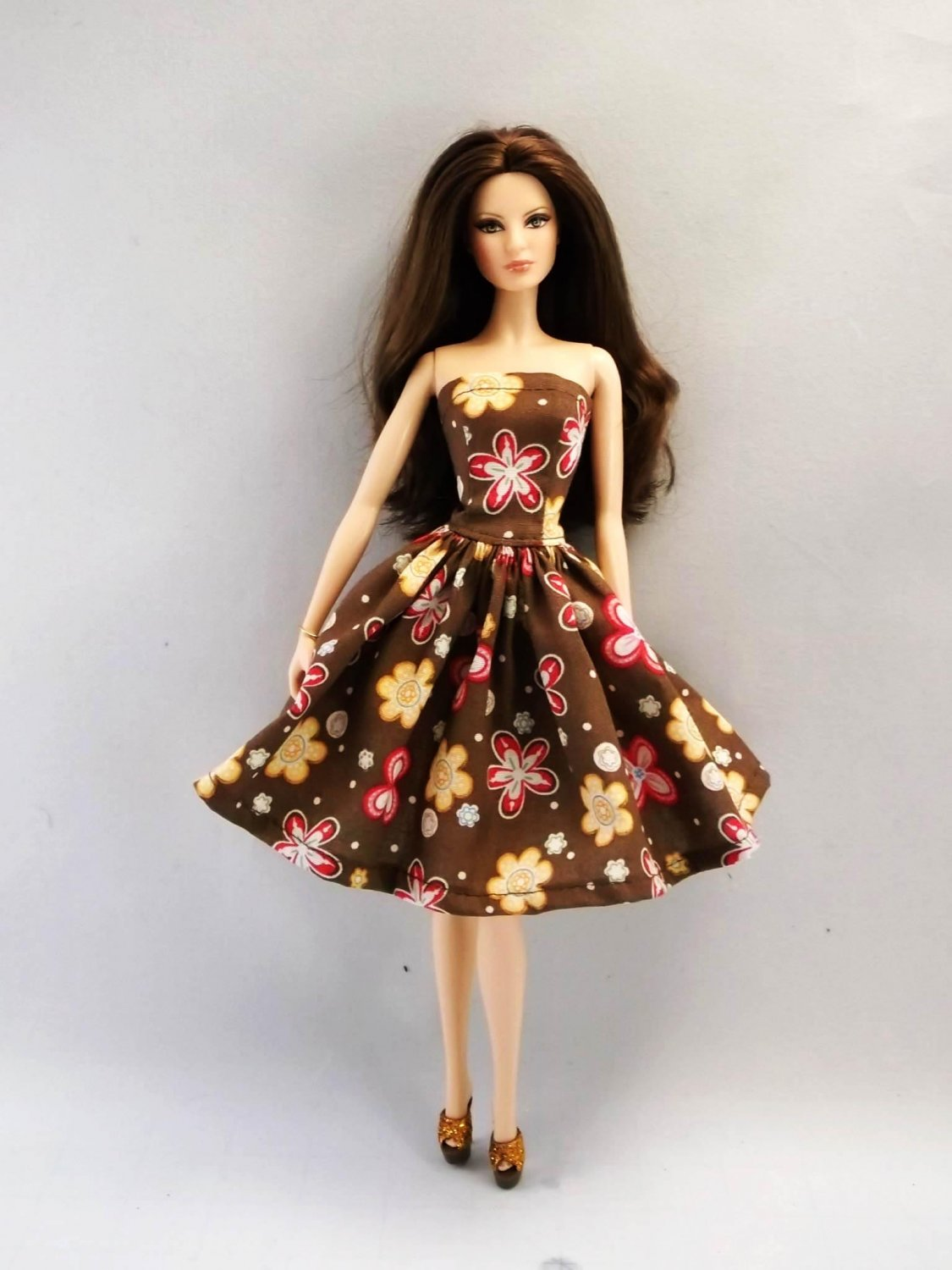 Barbie Clothes Strapless Barbie Dress  08