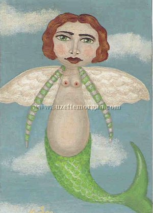Flying Mermaid Print by Suzette M. Morgan
