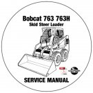 Bobcat Skid Steer Loader 763 763H Service Manual 512250001-512450001-512620001 CD