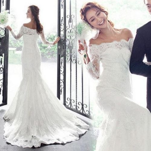 LUXURY WHITE LACE PRINCES BRIDE FISH TAIL LONG TRAIN HANDMADE FORMAL SIZE 6 & 10