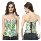Plus Floral Denim Corset Womens New Peacock Pattern Lace Up Back Corset Bustier