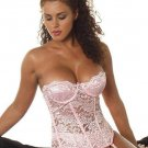 Hot Sale Bustier New Sexy Women Corset Bone Pink Lace Garters See Through T-back