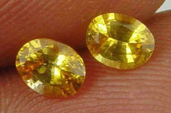 0.75CT Rare Pair Yellow Fire Natural Sapphire 10070822