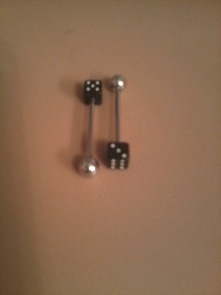 black and white dice tongue ring qty1
