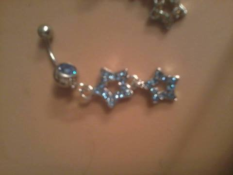 light blue dangling belly button ring