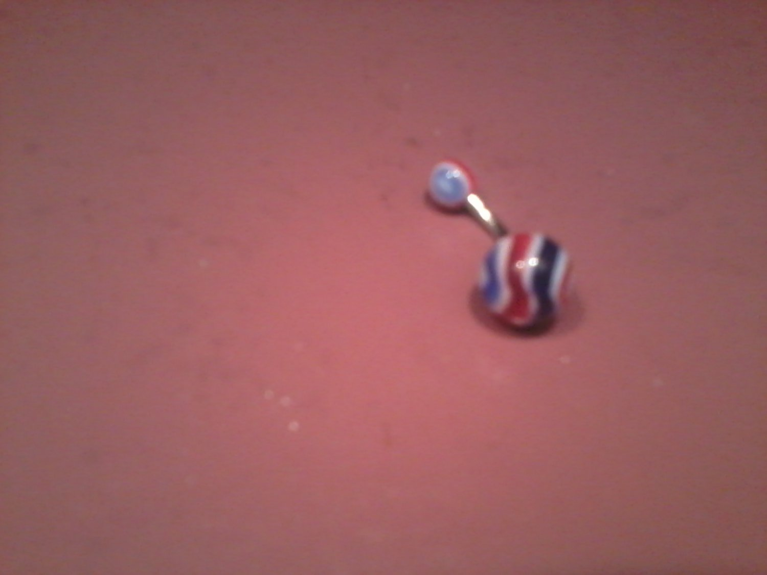 red white and blue stripes belly button ring