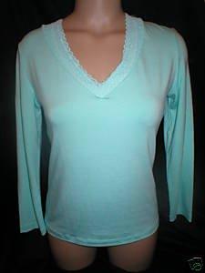 Cosabella Aqua Blue Long Sleeve V Neck Lace Trim Top M NWT